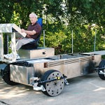 Roam Transport MicroWay chassis following side reference in parking lot test. MegaRail