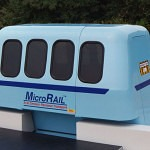 Roam Transport MicroWay car at station platform mock-up. MegaRail