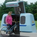 Roam Transport's MicroWay cars can accommodate passengers with bicycles. MegaRail