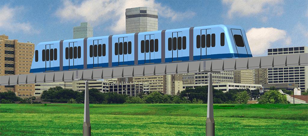 MicroWay Urban Transit Train on Guideway. MegaRail