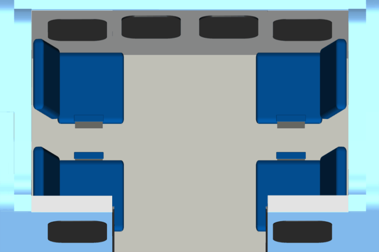 Roam Transport MicroWay Personal Rapid Transit Car Seating Arrangement (Cut-Away, Top View). MegaRail