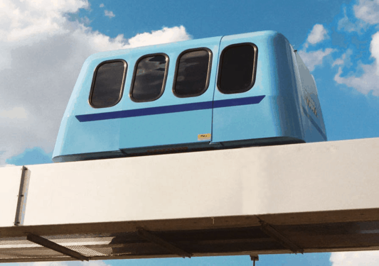 Roam Transport MicroWay—Future Personal Rapid Transit (PRT) Prototype Vehicle on Guideway. MegaRail