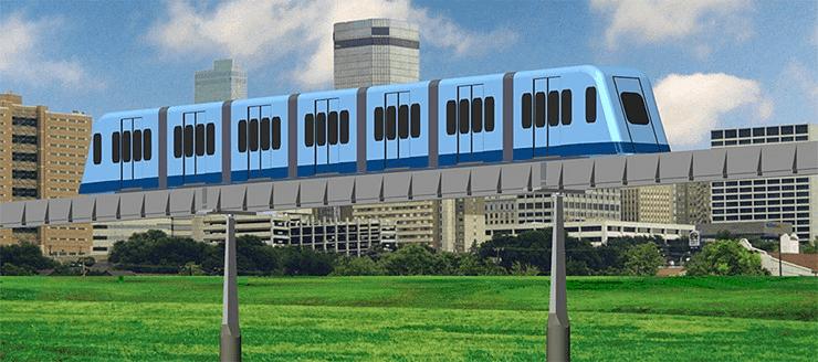 Roam's MicroWay Urban Transit Train on Guideway. MegaRail
