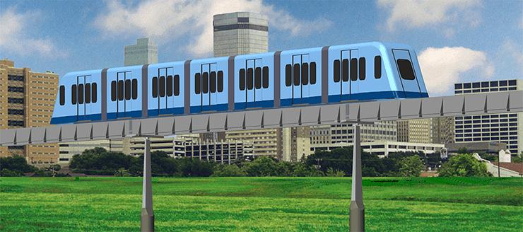 MicroWay Urban Transit Train on Guideway.